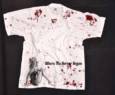 Blood displaced all over this shirt - it pairs with a Halloween poster design.