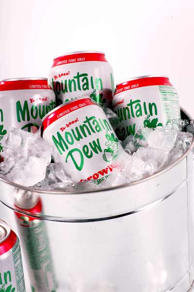 Mountain Dew throwback in a classic silver pail.