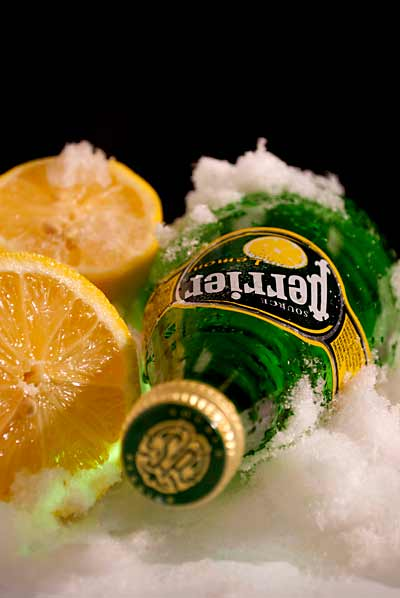 Perrier with lemon.