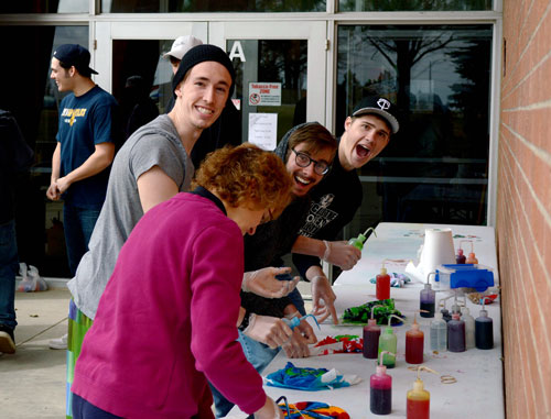 (L to R) Blaze, Caleb, Jacob and Jared take part in tie-dying.