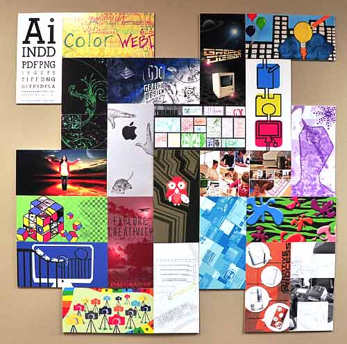 Each Sophomore Graphic Design and Communications student is represented in this collage piece.