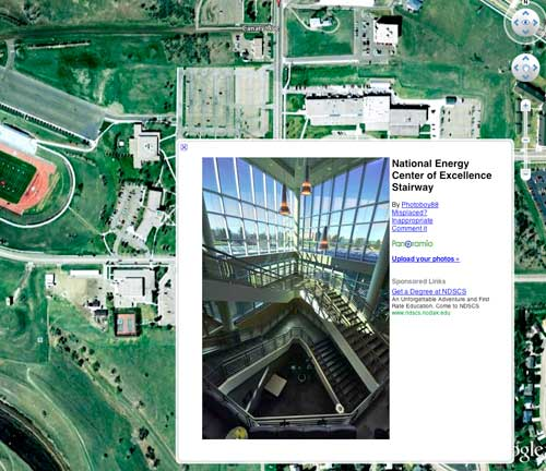 A screenshot from the Google Earth map of Bismarck State College shot by the Graphic Design and Communications students.
